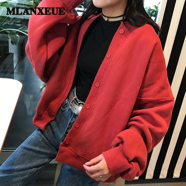 Solid plus size warm bomber jackets women no collar single breasted loose large sleeves baseball jackets female autumn winter