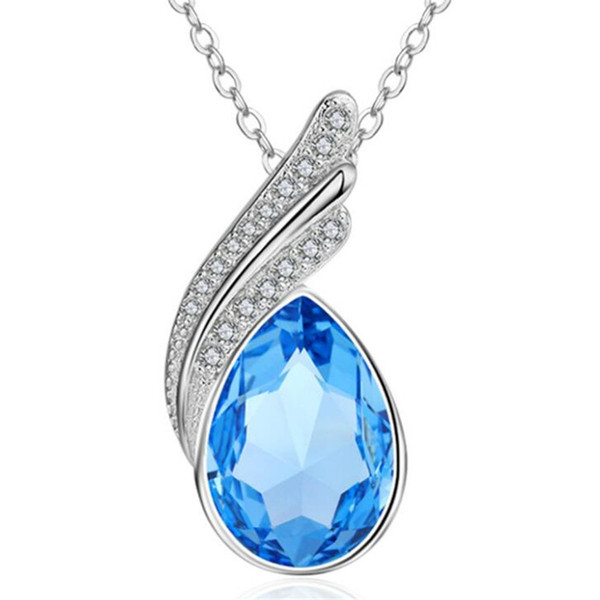Austria Crystal from Swarovski Elements Water Drop Pendant Necklace For Women Vintage Fashion Jewelry White Gold Plated