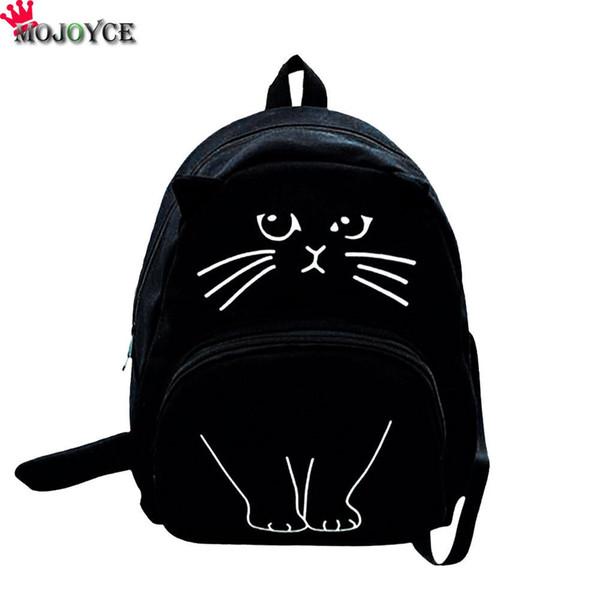 uggage Bags Backpacks 2018 Cat Printing Backpack Women Canvas School Bags For Teenager Girls Ladies Casual Cute Rucksack Mochila Feminina...