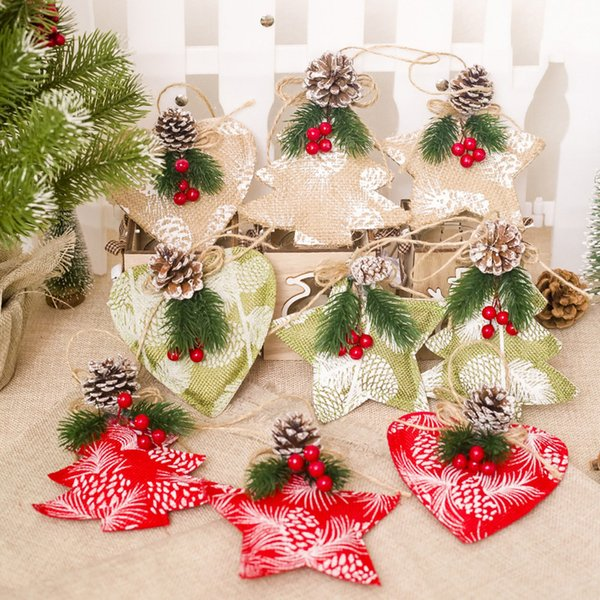 2018 Christmas New Year Home Decor Gifts Mini Fabric Pendant Christmas Tree Ornament Party Hanging Decorations for Home