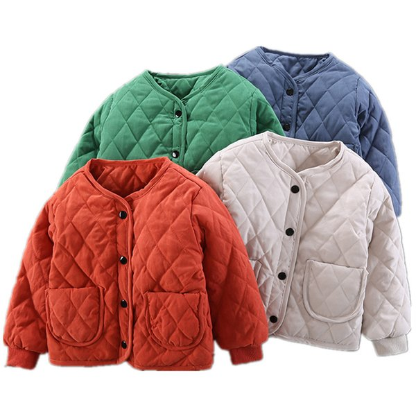 Winter Boys Down Coats Cotton Plus Padded Thickening Thermal Jackets For 2-8T Solid Christmas Outerwear Children Clothing