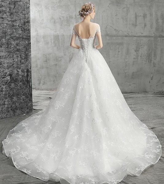 High Quality Wedding Dresses New Word Shoulder Short Sleeved Lace Skirt Mopping A Font Decal Manual Nail Bead Halter Strap Church Wedding