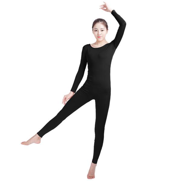 Ensnovo Womens Spandex Bodysuit Long Sleeve Full Body Black Unitard Gymnastics Yoga Sports Jumpsuits Dancewear for Female