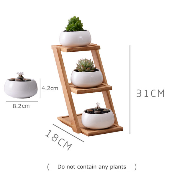 1 Unidades Modernas Minimalista de Maceta de Cerámica Blanca Planta de Maceta Suculenta 3 Plantadores de Bonsai Con 3-Tier Estante de Bambú Home Garden Decor