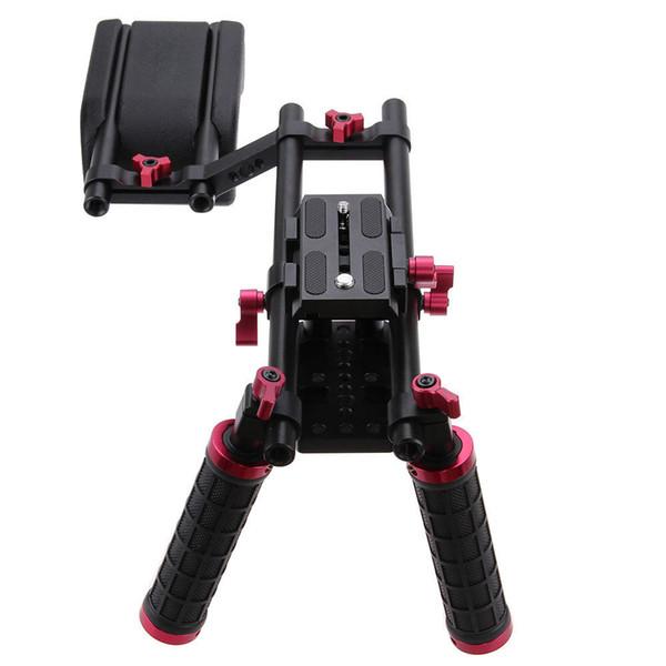 CAMVATE Pro DSLR Schulterhalterung Support Rig Kit Dual Handgriff verstellbare Grundplatte High Riser für Kamera Camcorder