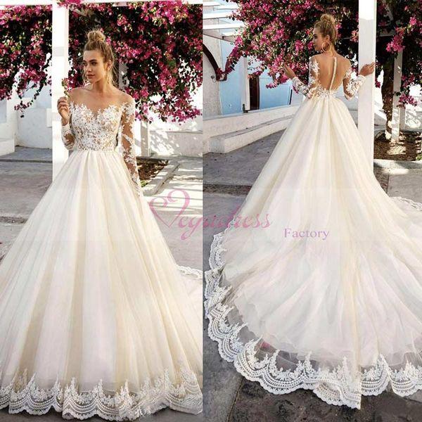Discount 2017 Plus Size Lace Wedding Dresses Vintage Lace Boat Neck ...