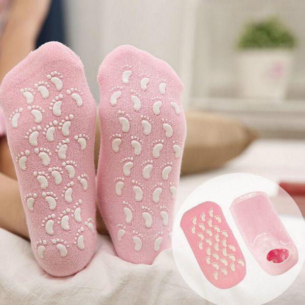 2Pcs Moisturize Soften Repair Dry Cracked Skin Gel Moisturizing Spa Socks Soft Feet Treatment Exfoliating Pink