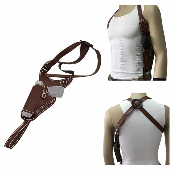best selling Tactical Universal Gun Bag Vertical Shoulder Auto Handguns Cowhide Holster Adjustable Genuine Leather Hand Gun Holster