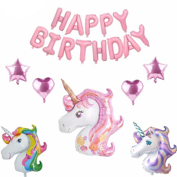 50 adet / grup Daha Küçük Gökkuşağı Unicorn Balon Moda Karikatür Çocuk Unicorn Doğum Günü Partisi Süslemeleri Hava Globos Malzemeleri Balonlar Hediye Oyuncaklar
