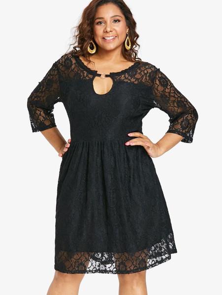 Wipalo Plus Size Hot Spring Autumn Keyhole Knee Length Lace Dress 3/4 Length Sleeves Back Deep V Lace A Line Swing Dress