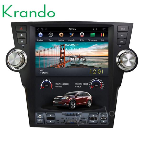 "Krando Android 6.0 12.1"" Vertical screen car dvd audio entertainment player for Toyota Highlander 2009-2013 gps navigation multimedia system"