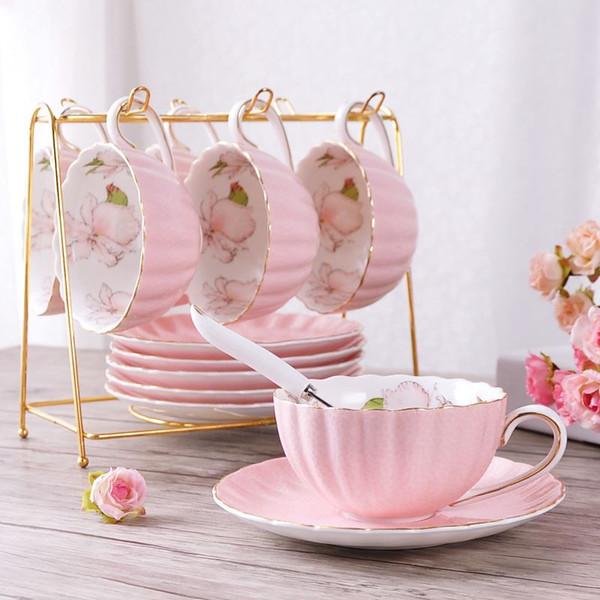 1 stücke Britischen Stil Hochwertigen Bone China Kaffeetasse Pastoralen Nachmittagstee Keramik Tee Schwarzer Tee Tasse Teller Löffel Kürbis Tasse Rosa Roma