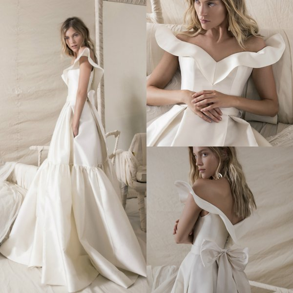 Discount Cheap Lihi Hod A Line Wedding Dresses Off The Shoulder Bow Loose  Plus Size Bridal Gowns Vestidos De Noiva Wedding Dresses Nyc Wedding  Dresses ...