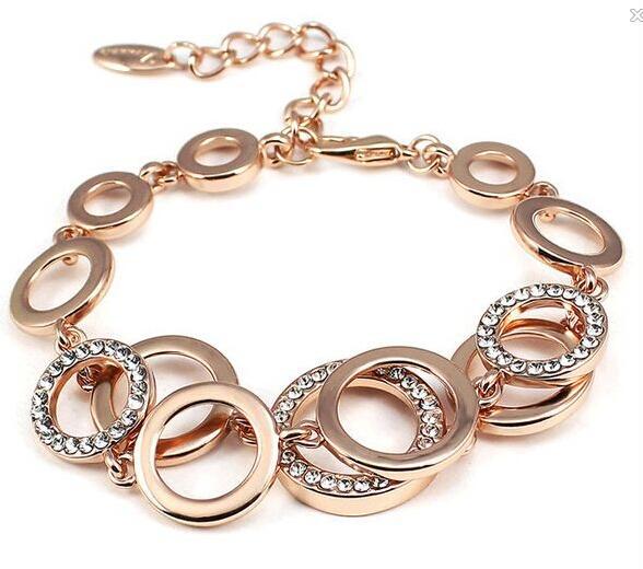 Moda austríaco pulseira de cristal banhado a cor de ouro novas meninas mulheres jóias 1460