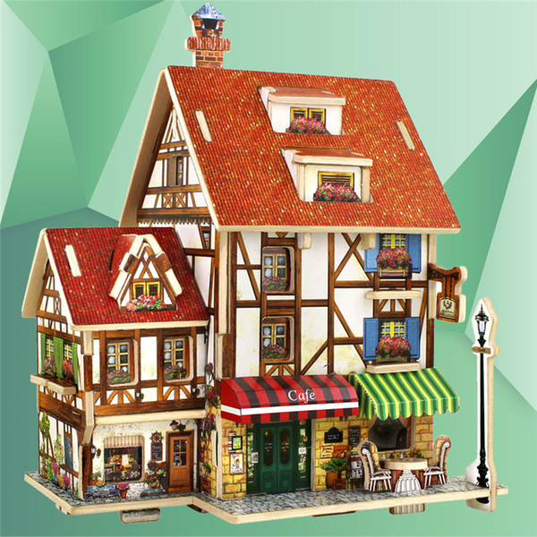 top popular 3D Wood Puzzle House Construction Building Learning Toys France French Style Coffee House Puzzle DIY Model Wooden Puzzle 2021