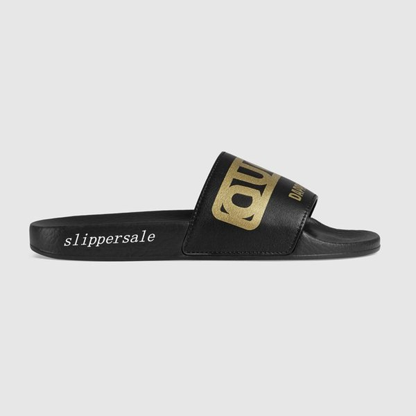 fall winter 2018 mens and womens apper dan print leather Slides sandals flip flops with rubber molded footbed size euro 35-45