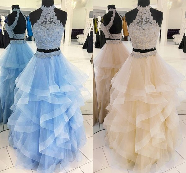 Two Piece Ball Gown Prom Dresses High Neck Lace Tulle Floor Length Backless Light Sky Blue Champagne Quinceanera Dresses Sweet 16 Dresses