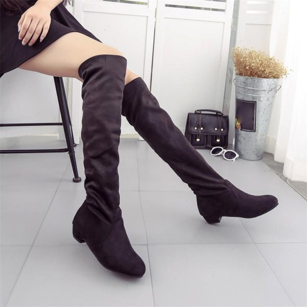 2019 Women Winter Autumn Flat Boots Shoes High Leg Suede Short Long Boots Shoes Woman botas ug australia mujer Rubber Boots Women