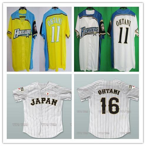 Custom 11 Shohei Otani Hokkaido Nippon-Ham Fighters Jerseys Yellow Blue White Pinstriped Japan Samurai 16 Shohei Otani Baseball Shirts Cheap