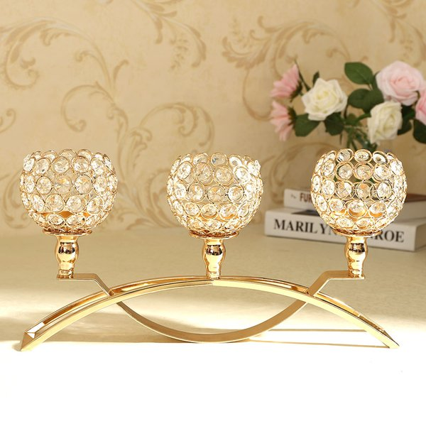 3 Arms Crystal Candle Tealight Bowl Holders Candelabra Candlesticks Stand for Wedding Home Decor Party Coffee Bar Dining Table Centerpieces
