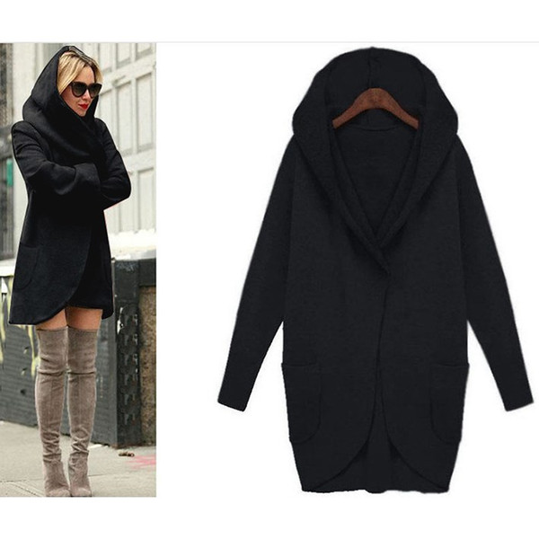 Autumn Women Plus Size Trench Coat Pockets Pocket Long Sleeve Hooded Overcoat Cotton Blend Cardigans Trench Coat