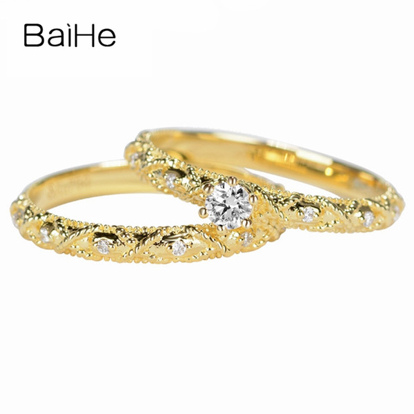 baihe solid 18k yellow gold 0.10ct certified h/si round cut 100% natural diamonds engagement women trendy fine jewelry gift ring, Golden;silver