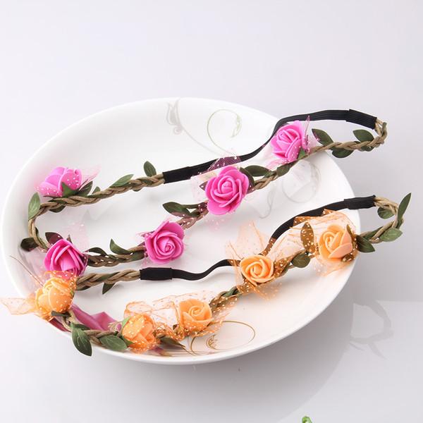 15pcs/lot Hot Sale Flower Headband Beautiful Rose Flower Headbands For Girls Bohemian Style Wreath Wedding Floral Garland Hair Accessories