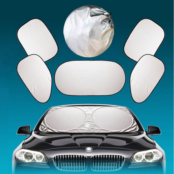 6PCS in One Foldable Car Sunshade Car Vehicle Windshield Cover Block Front Rear Side Window Sun Shade