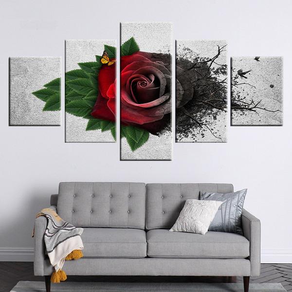 Decorazione di arte della parete Immagini della tela di canapa Modulare 5 Pezzi Rosso Giardino Rose Fiori Pittura Farfalla Stampata Home Poster Senza cornice