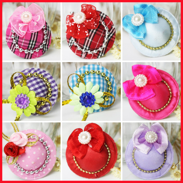 100pcs/lot Mixcolor Lovely Mini Hat Dog Hair Clips Princess Dog Hairpin Pet Accessories Grooming Supplies