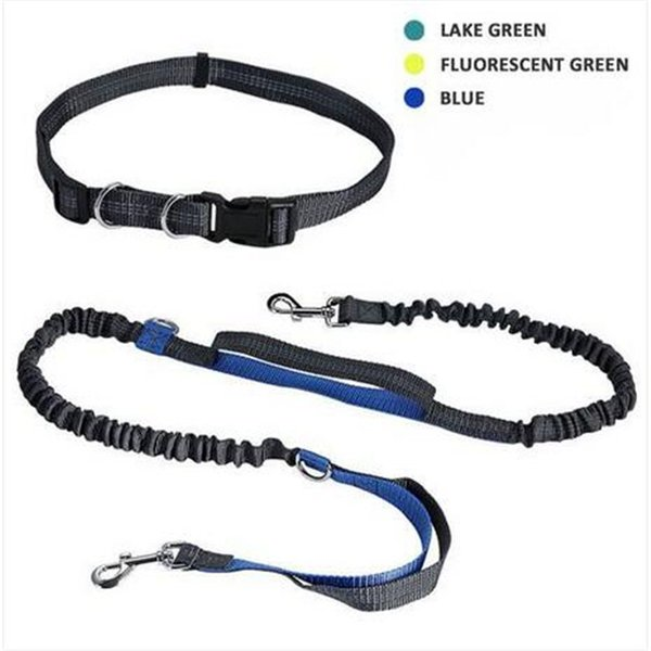 Free shipping Reflective Hands Dog Lead Running Jogging Waist Belt Training Bungee Leash Dog Collars & Leashes