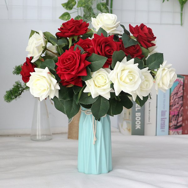 2019 2 Heads Silk Rose Flower Fake Leaves Bridal Bouquet Diy Wedding Accessories Artificial Flowers For Home Party Hotel Decoration From Fl3310 3 56