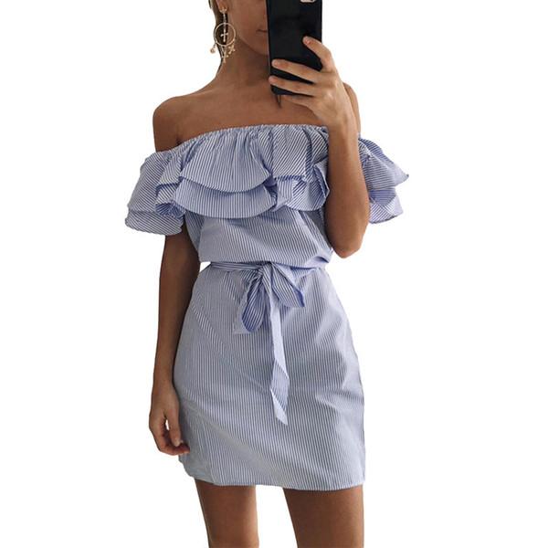 Off Shoulder Strapless Striped Ruffles Dress Women 2019 Summer Sundresses Beach Casual Shirt Short Mini Party Dresses Robe Femme