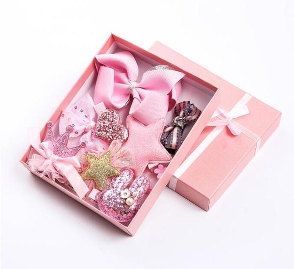 1 set=10pcs Sweet Hairpins Girls Hair Accessories Colorful Barrettes Child Infants Headwear Set Bow Hair clip Headdress
