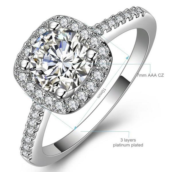 0a3051fdbcd0 Color plata exquisito Bijoux moda cuadrado de boda anillo de compromiso  hecho con Cubic Zirconia joyería
