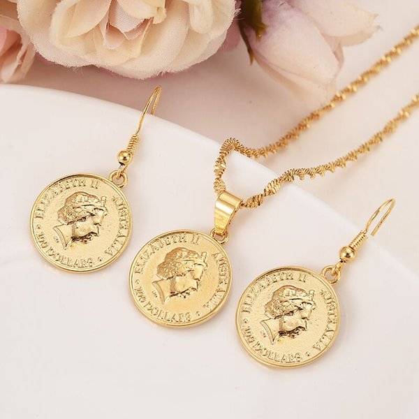 9k Yellow Solid gold Filled Australia commemorative Elizabeth 100 replica medal coins collectibles Kangaroo earrings pendant