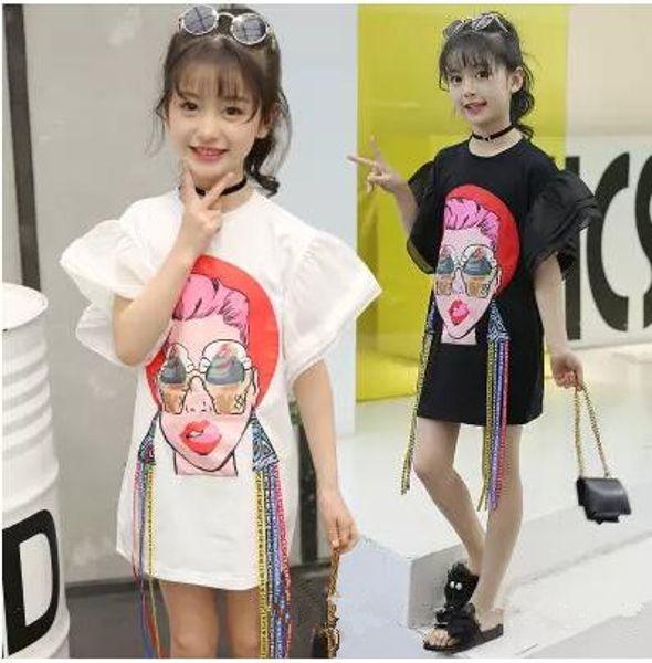Große Mädchen T-shirt Kinder Mädchen Kleidung Mund Schöne Frau Gedruckt Quaste Flare Sleeve Kinder Tops Sommer Mode Casual Dress B11