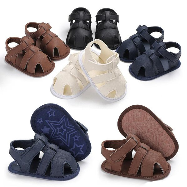 Baby boys pu sandals 4 colors infants boys cute solid color first walkers infants hollowed out prewalkers toddlers summer shoes