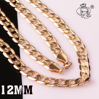 Wholesale High Quality Fashion Jewelry Snake Chain 18K Gold 12MM 16-24inches 925 Sterling Silver One Side Necklace Free Shipping