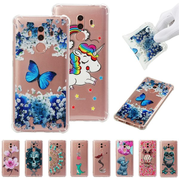 Soft TPU Cover For Huawei Mate 10 Pro Case Coque transparent Coloured drawing Shockproof Phone Cases Blue butterfly Cloud Skull