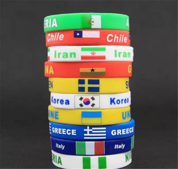 Grosshandel Brand New World Cup Armband 2018 Russland Nationalmannschaft Flagge Armband Souvenir Manner Kinder Fussball Fussball Fans Sport Silikon