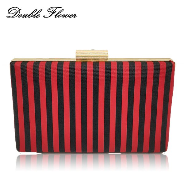 check out reliable quality diversified latest designs Double Flower Black & Red Bold Striped Women'S Fashion Day Clutches  Handbags Ladies Chain Shoulder Bag Female Wedding Clutch Bag Purses For  Sale ...