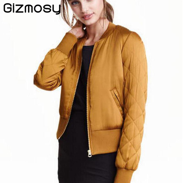 Gizmosy 2017 Trendy Women V-Neck Quilting Quilted Jacket Short Thin Padded Bomber Coat Pilots Outerwear Tops 4 Color SY066