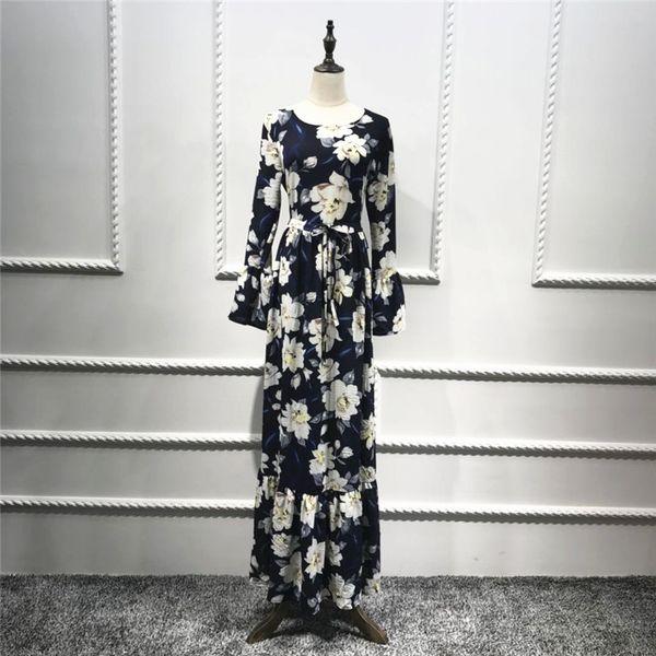 women muslim dress o neck flare sleeve prited flower abaya dress plus size long dubai turkey women casual islamic clothing