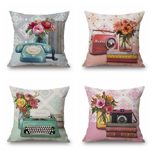 Radio Camera Cushion Cover Flower Pillow Cover Pink And Blue Color 4 Styles  Thin Linen Pillow Cases 45X45cm Bedroom Sofa Decoration Outside Seat ...