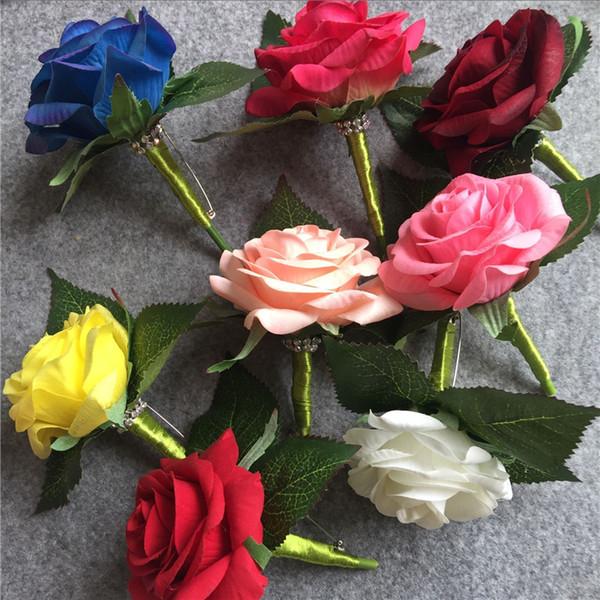 WeddingBobDIY Artificial PU White Rose novio Boutonniere Wedding party hombres ramillete Prom broche de la solapa de la flor decoración