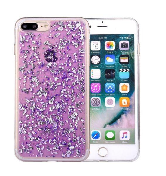 Custodia iPhone 8 Plus, Custodia iPhone 7 Plus, Custodia Glitter scintillante Cute con elementi in lamina Design protettivo morbido TPU flessibile sottile