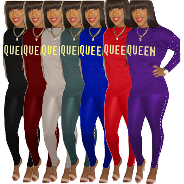 Queen Women Hoodies Letter Tracksuit Long Sleeve Pearl Shirt Sweatshirt + Tights Leggings 2PCS Set Casual Outfit Pullover Pants hyr Clothes