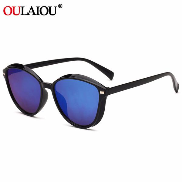Oulaiou круглый цвет женщины мужчины солнцезащитные очки бренд дизайн роскошные женские мужские солнцезащитные очки вождения UV400 мужские очки зеркало