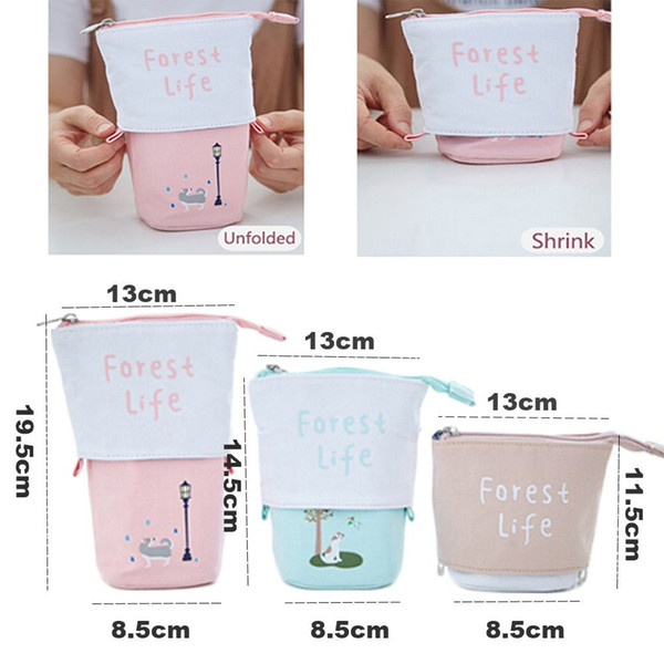 2018 1PC Cute Makeup Pouch Zipper Simple Large Capacity Portable Stationery Cosmetic Bag Girls Classic Design Gifts Pencil Case